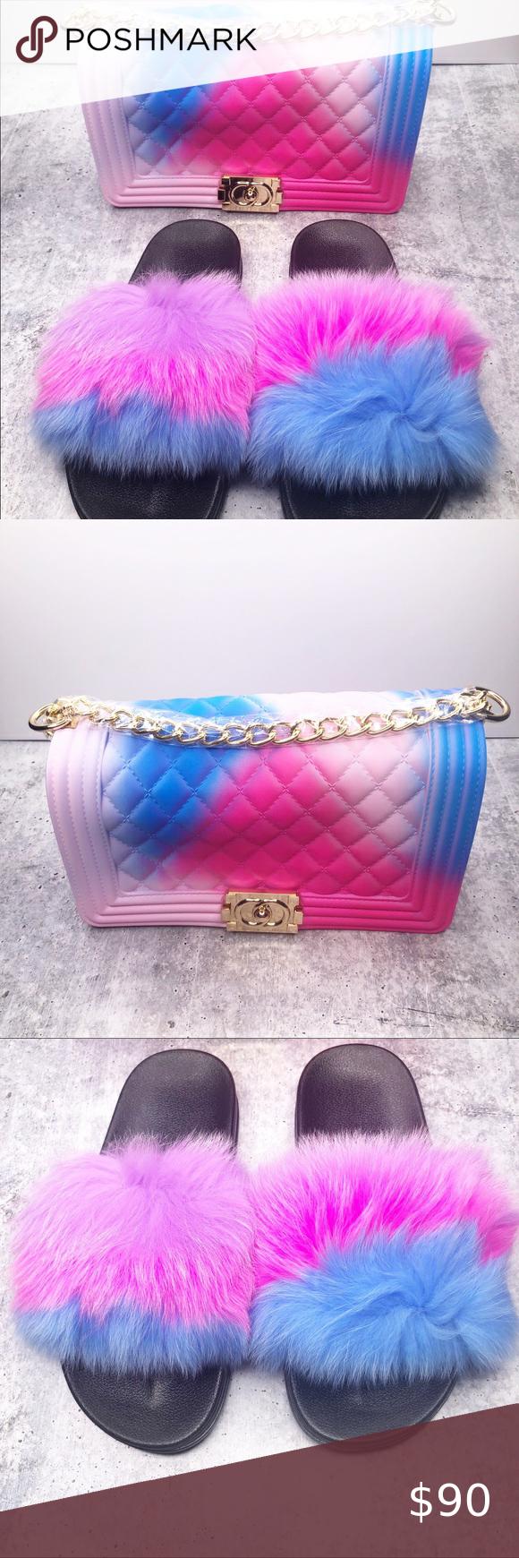 matching jelly purse bag faux fur slides shoes set in 2020 jelly purse faux fur slides blue purse pinterest