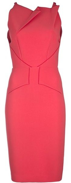 ROLAND MOURET ENGLAND  Sleeveless Fold Detail Dress. Koraalrood voor de lichte lente (L1).