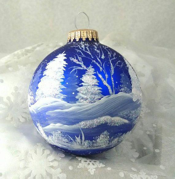 Blue Christmas Ball Ornaments Uk: Winter Scene,Blue, Winter Trees And Snow, Royal Blue Bulb