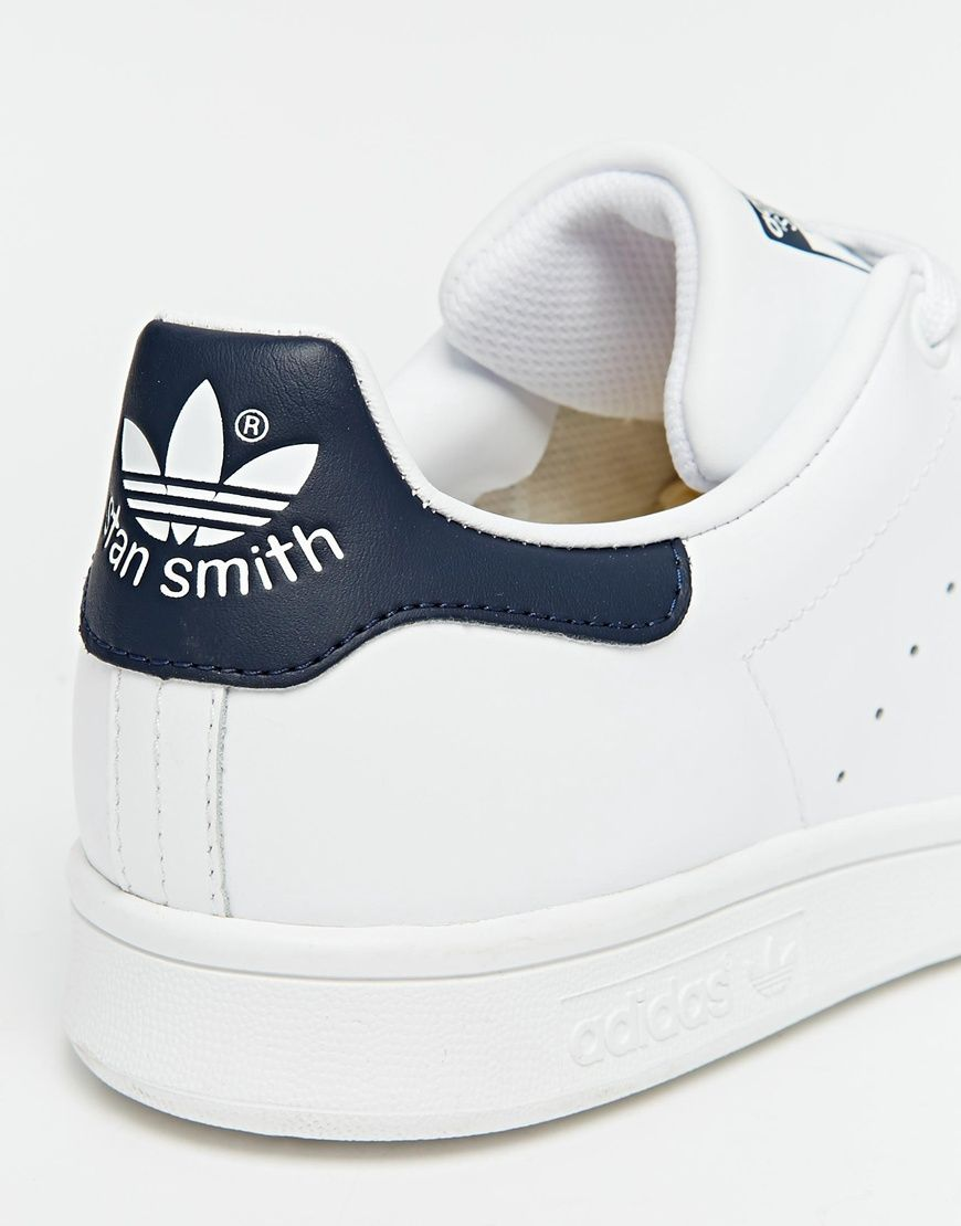 adidas originals white and navy stan smith sneakers