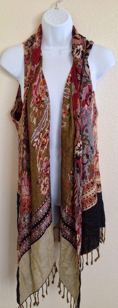 Handmade #Pashmina Shrug Sweater Shawl Medium Large XL Floral NWOT B10 #Handmade #Shrug