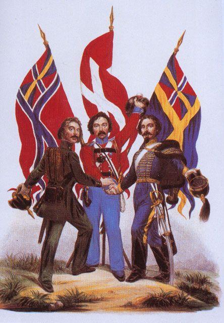 Alegoría de la unión de las tres naciones ecandinavas: Noruega, Dinamarca y Suecia, a mediados del siglo XIX