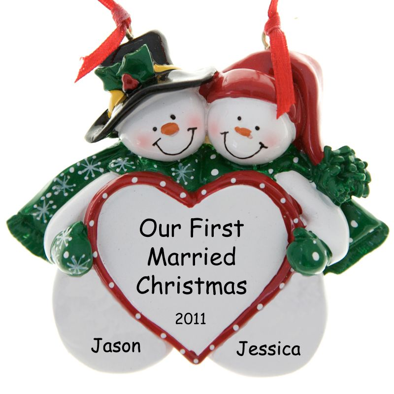 our 1st married christmas ornament snow couple big heart monstermarketplacecom - Our First Married Christmas Ornament