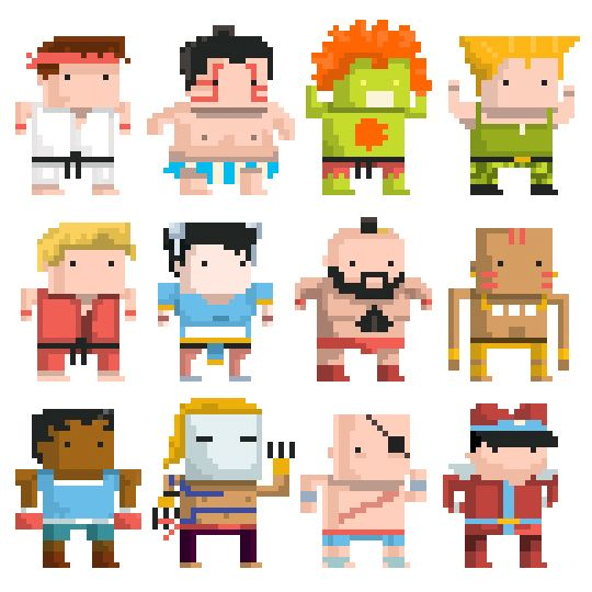 Street Fighter Chibi 8bit Video Game Characters