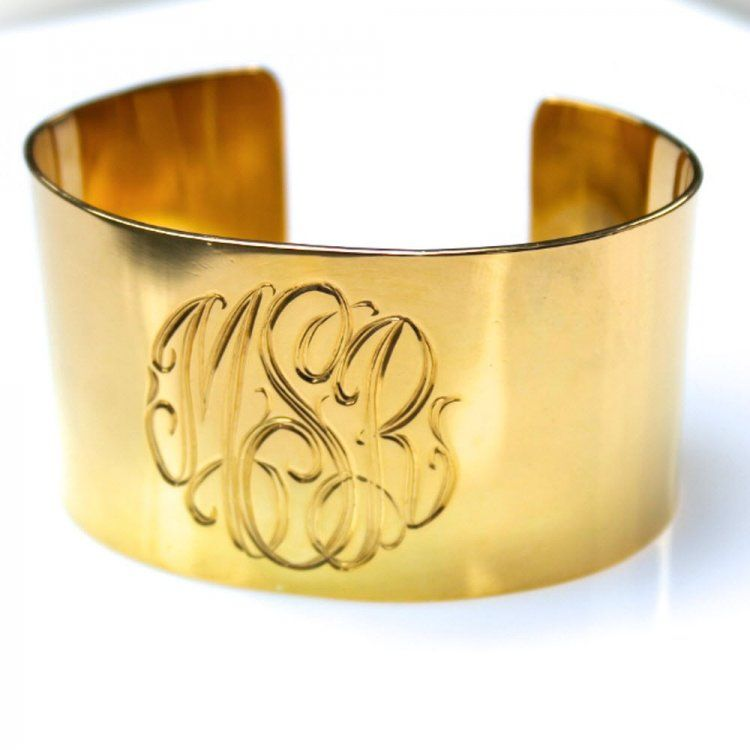 953ae4ec5c5 Wide Engraved Cuff Bracelet In Sterling Silver Or Gold At The Pink Monogram