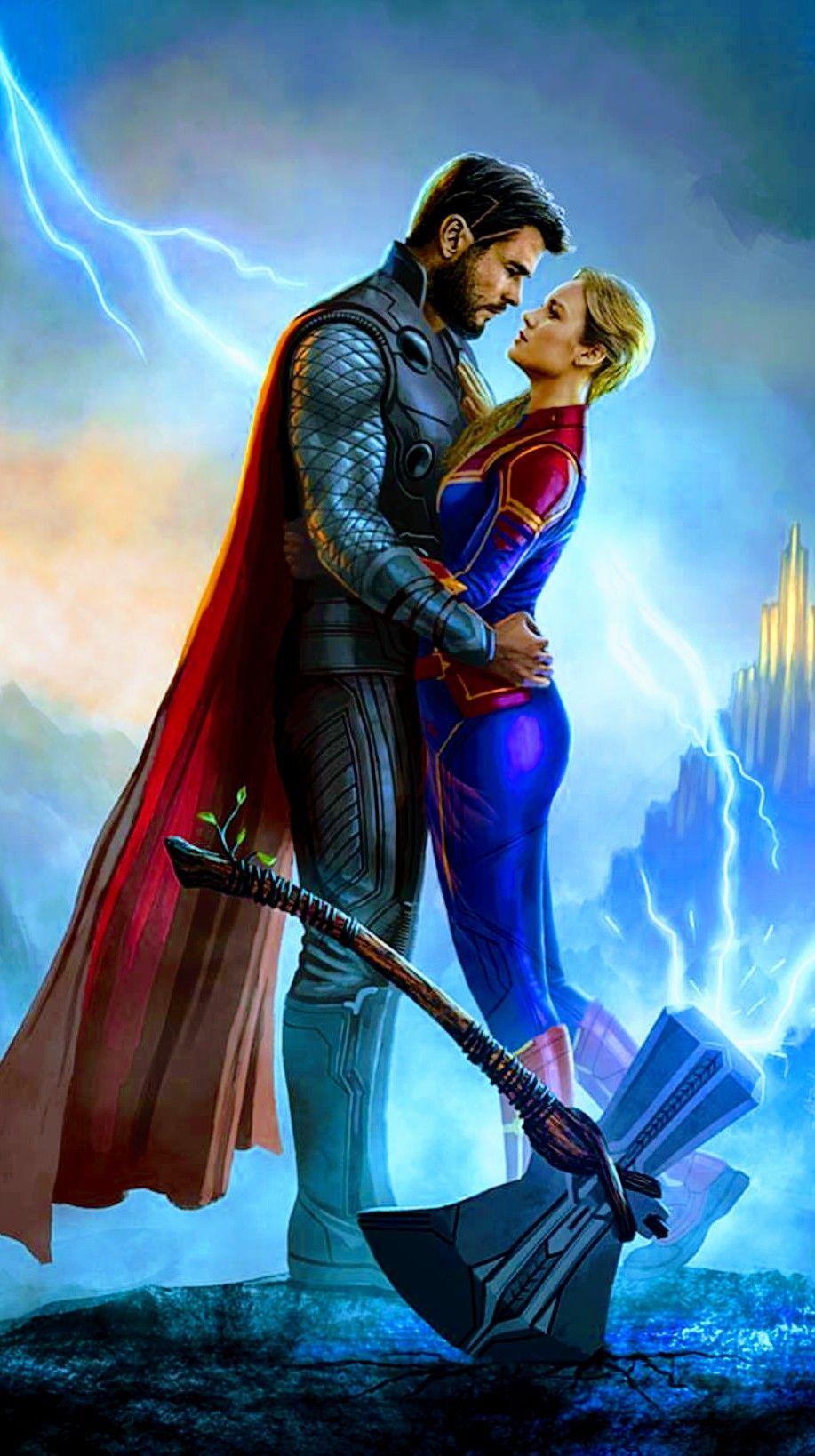 Captain Marvel Thor Avengers End Game Marvel Photo Marvel Superheroes Marvel Superhero Posters Trends for thor and captain marvel love