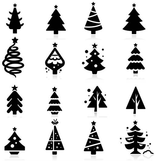 Silhouettes Christmas Trees Vector Christmas Vector Free Download Tree Icon Silhouette Christmas Cool Christmas Trees