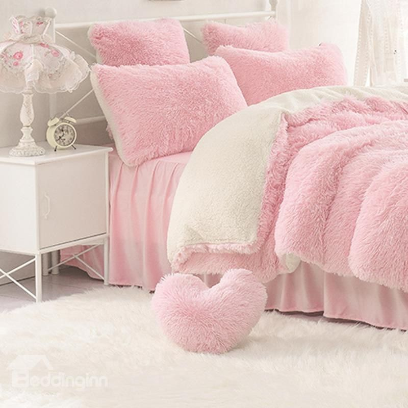 One Pink Pillow For Free Solid Pink And Creamy White Color Blocking Fluffy 4 Piece Bedding Sets Duve Fluffy Throw Pillows Cute Bedspreads Pink Princess Bedding