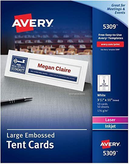 Avery Tent Cards Templates 5302 Lovely Avery Printable Tent Cards Laser Inkjet Printers 50 Cards 3 5 X 11 5309 White In 2020 Avery Printable Tent Cards Avery Labels