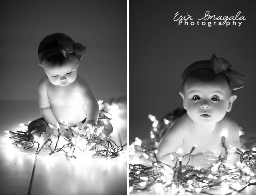 Black And White Plus Christmas Lights Baby Photography