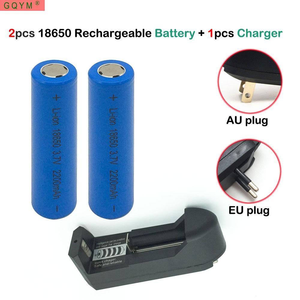 2 Pcs 18650 Battery 37v 2200mah Rechargeable Li Ion One Sanyo Eneloop Aaa 2pcs Charger For Power Bank Led Flashlight Batery