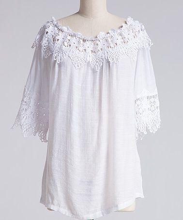 3a7e930bae3ad White Crochet Lace-Trrim Off-Shoulder Top - Plus  zulily  zulilyfinds