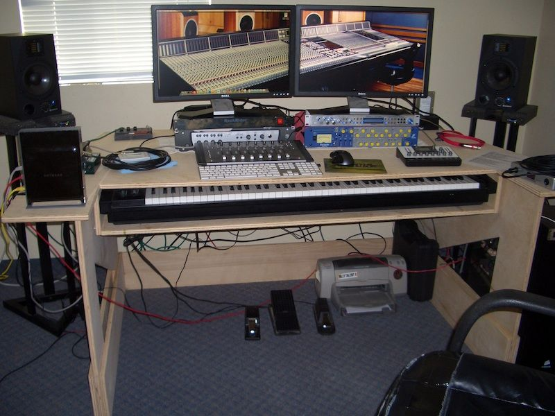 My Custom Built Production Desk With A Sliding 88 Key