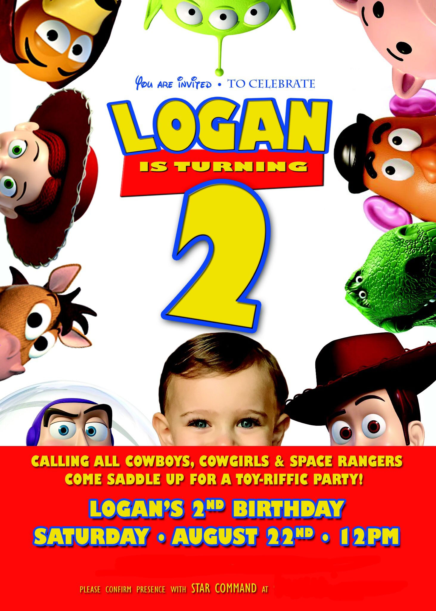 The invitation from Logan\'s Toy Story party ...
