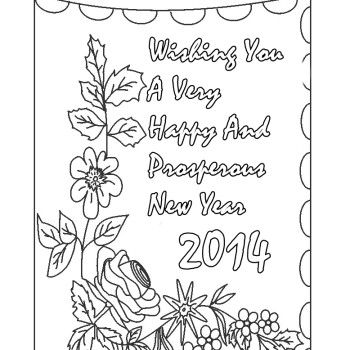 new years coloring pages  2014 Happy New Year Card Coloring