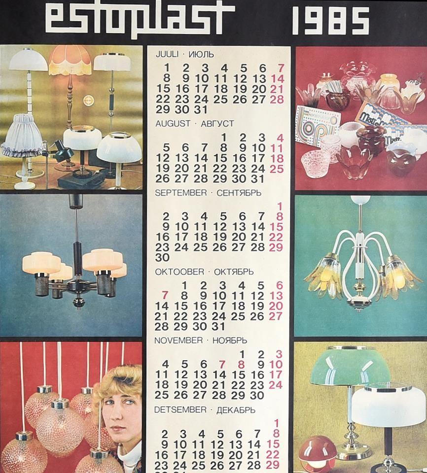 Estoplast Kalender 1985 Holiday Decor Decor Retro