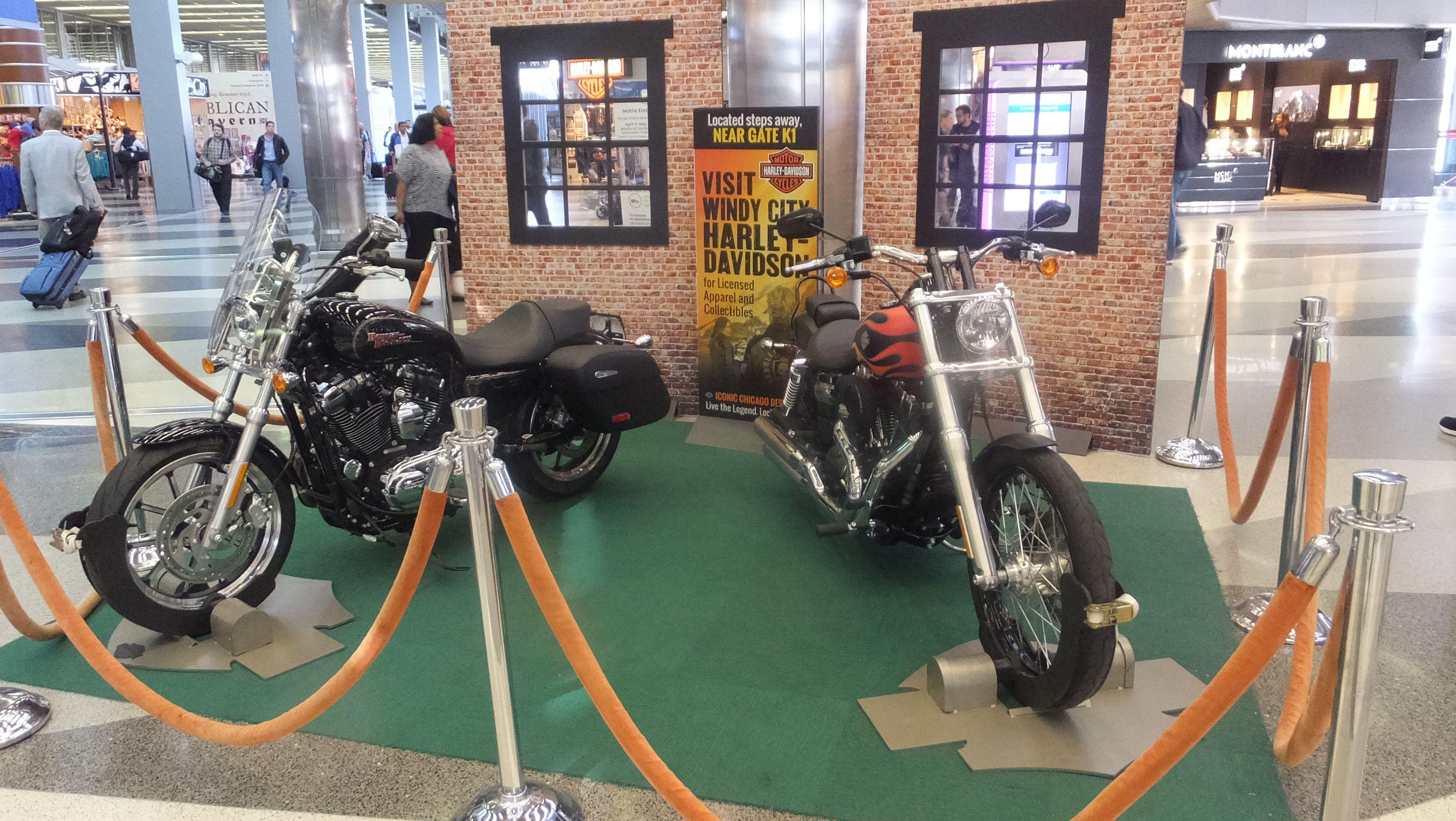 O Hare S Harley Davidson Motorcycle Display Hits The Road Tonight But The Harley Davidson Store Is Sti Harley Davidson Store Airport Shopping Harley Davidson
