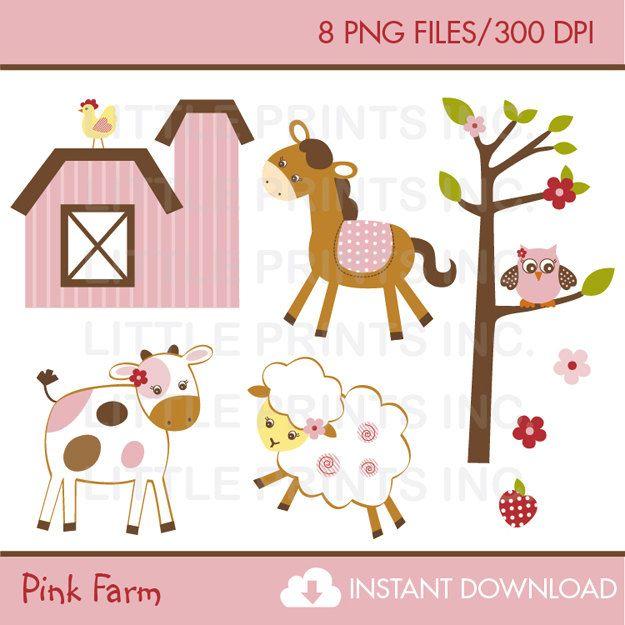 Pink Farm Animal Clipart Farm Animal Baby Shower Personal Use