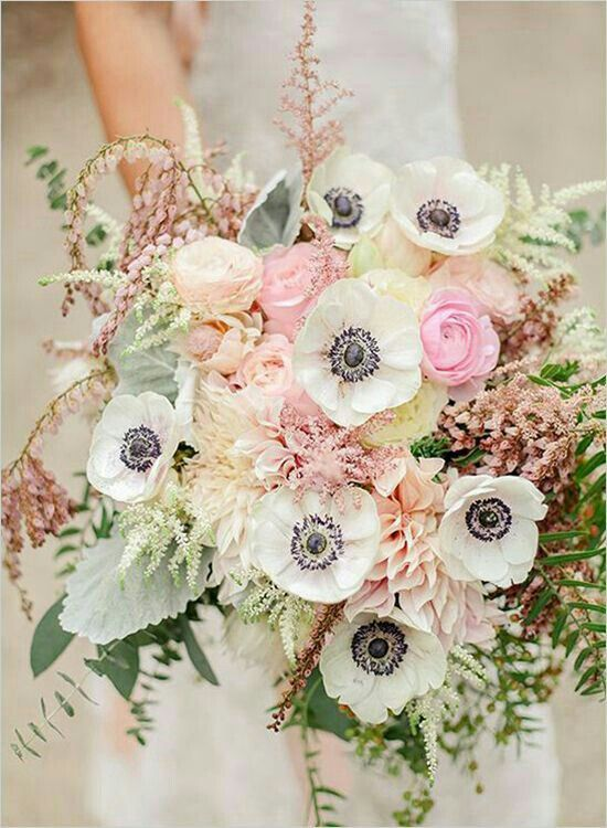 Beautiful & Romantic Bridal Bouquet: White Anemones White Astilbe Pink Astilbe Blush & Cream
