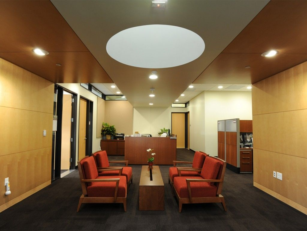 modern lobby, office common area, mid-century modern furniture