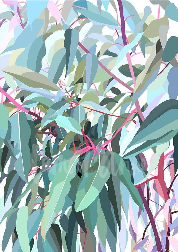 Gum Tree Prints Abstract Flower Art Tree Illustration Leaf Art