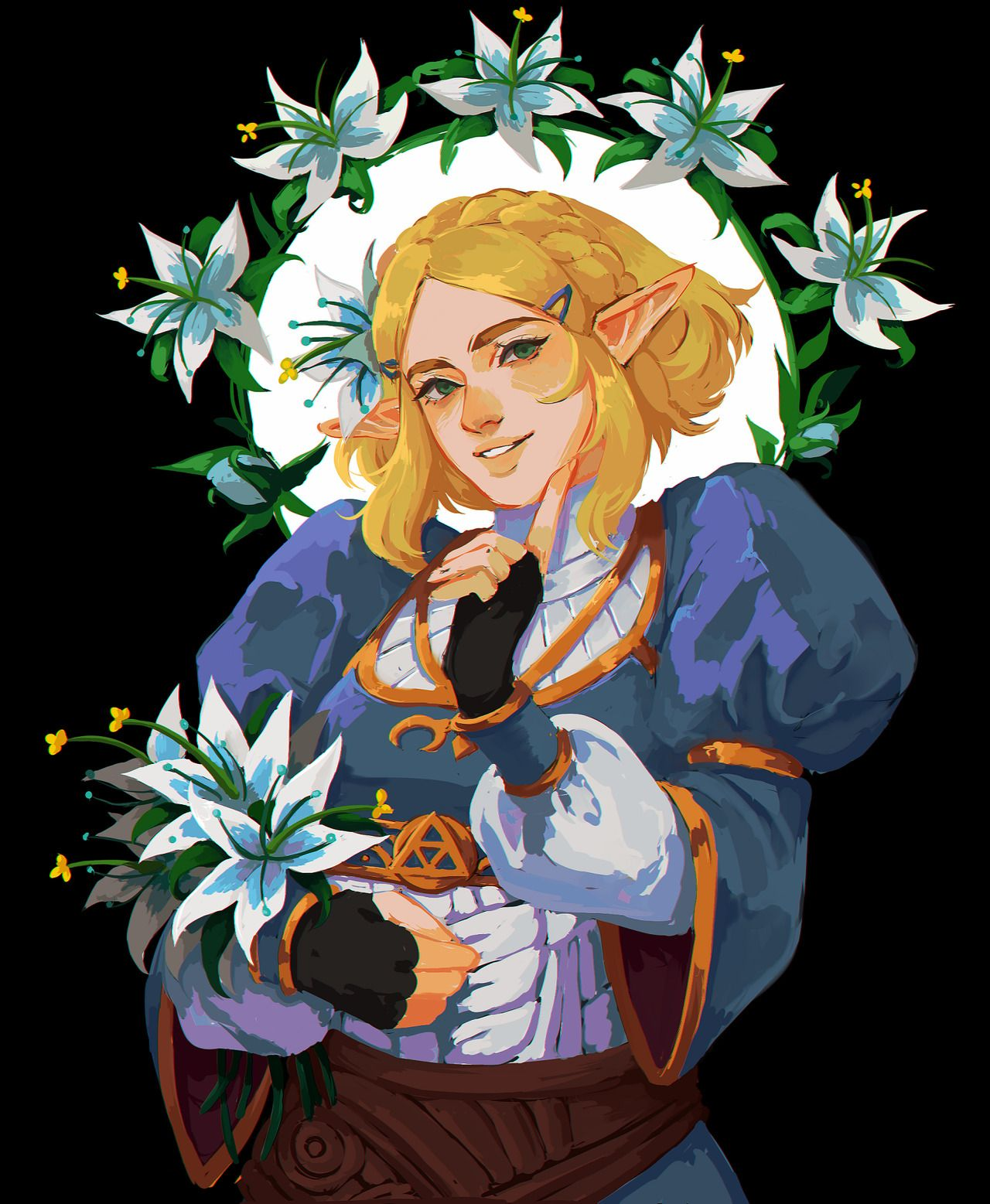 A princess surrounded by princesses 🌼🌸 by papabay Zelda art
