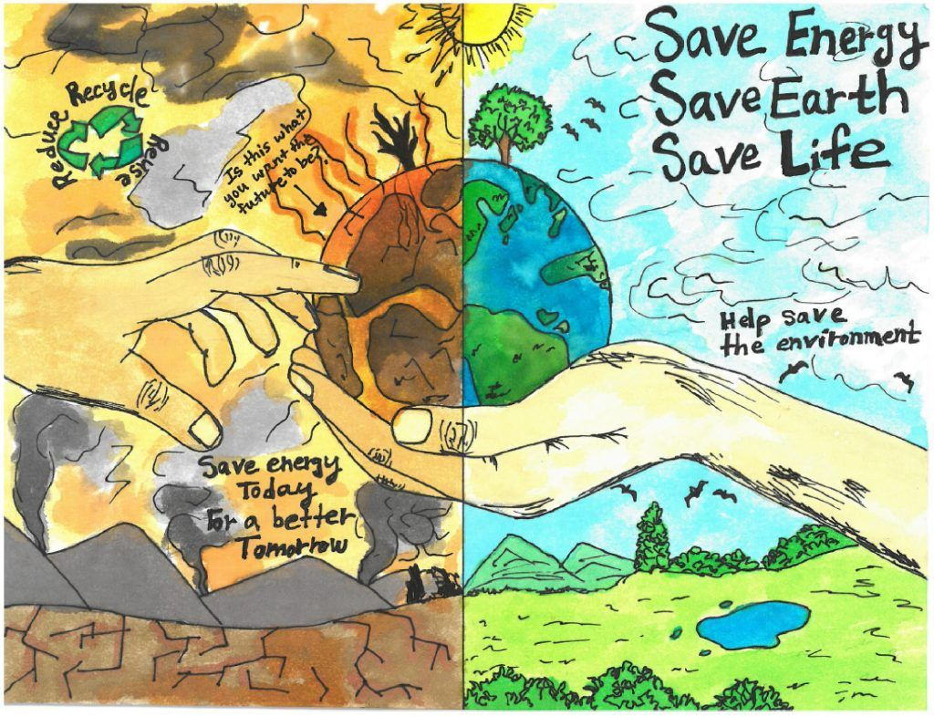 Kids Are Learning Energy Conservation And Creating Artistic Drawings To Prove It In 2020 Earth Drawings Save Water Poster Drawing Energy Conservation Poster
