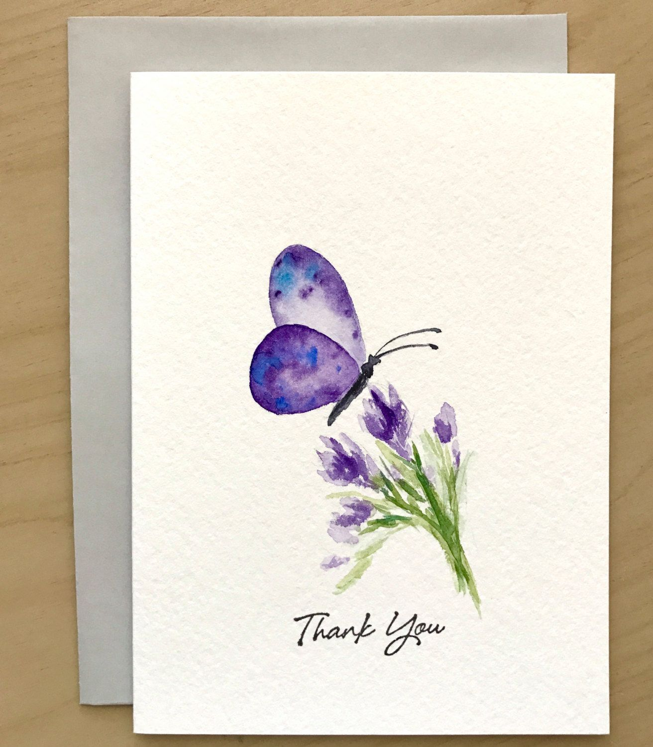 Butterfly Thank You Card Original Watercolor Cards Hand Painted