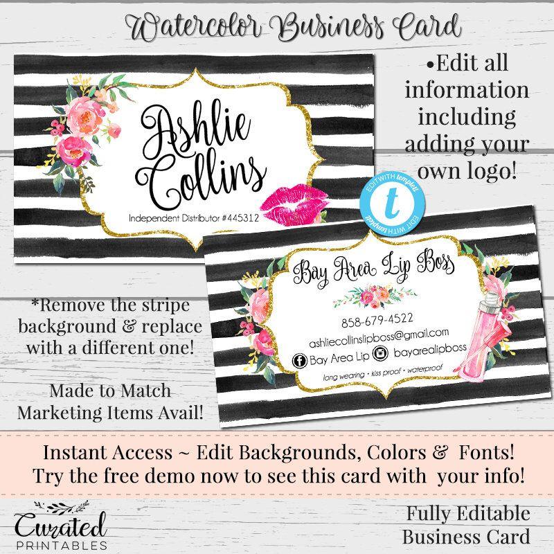 Lipgloss floral business card makeup artist rep card