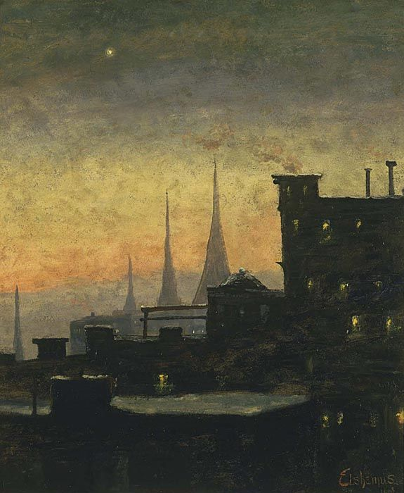 """New York Roof Tops"" by Louis M. Eilshemius (1864-1941), 1908, oil on cardboard"