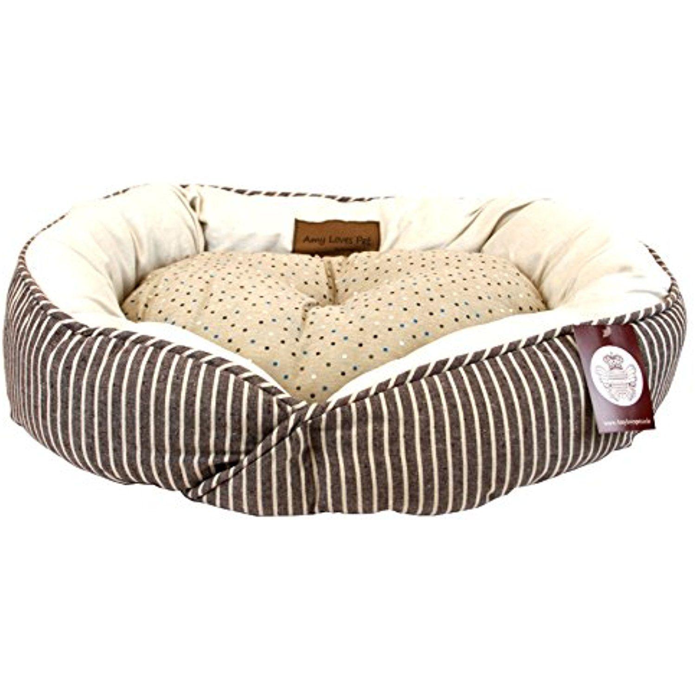 Amylovespet Cozy Stripe Pattern Round Soft Dog Bed, 22 X