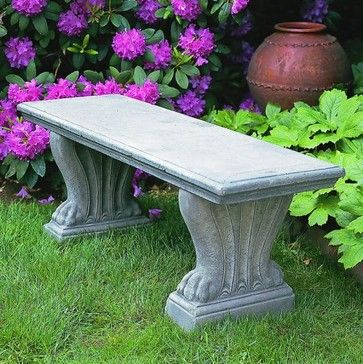 Campania International Westchester Cast Stone Backless Garden Bench - traditional - outdoor stools and benches - Hayneedle