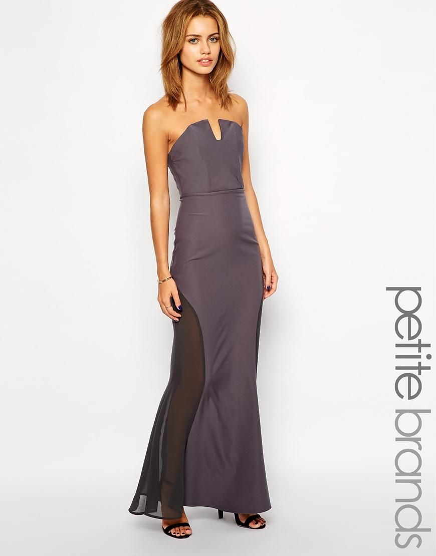 Jarlo Petite | Jarlo Petite Sheer Insert Strapless Maxi Dress at ...