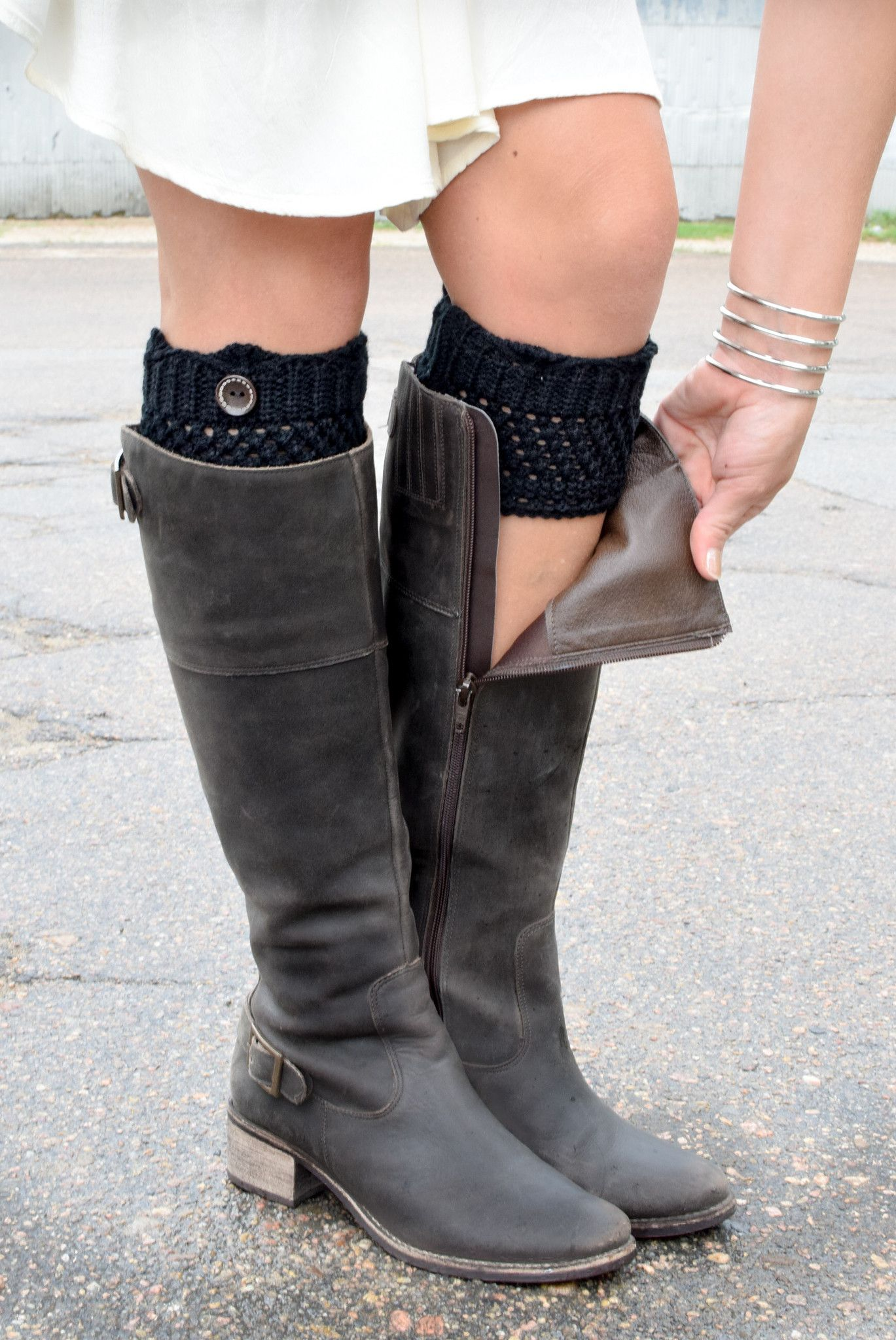 177e3c8dec3 Black Crochet One Button Boot Cuffs in 2019 | Clothes for me. | Boot ...