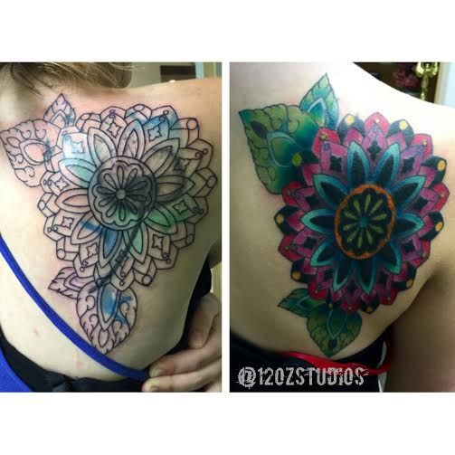 ca76e6bf8fce Before and after cover up tattoo full color mandala female back shoulder  tattoo by Tami Rose.