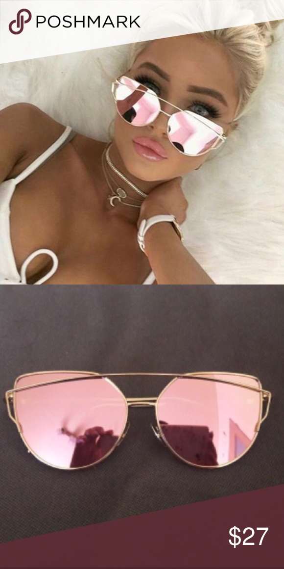 4a079c08adcc Cat Eye Mirror Aviator Oversized Sunglasses Pink lenses Gold Frame ❌ NO  TRADE Entropycat Accessories Sunglasses