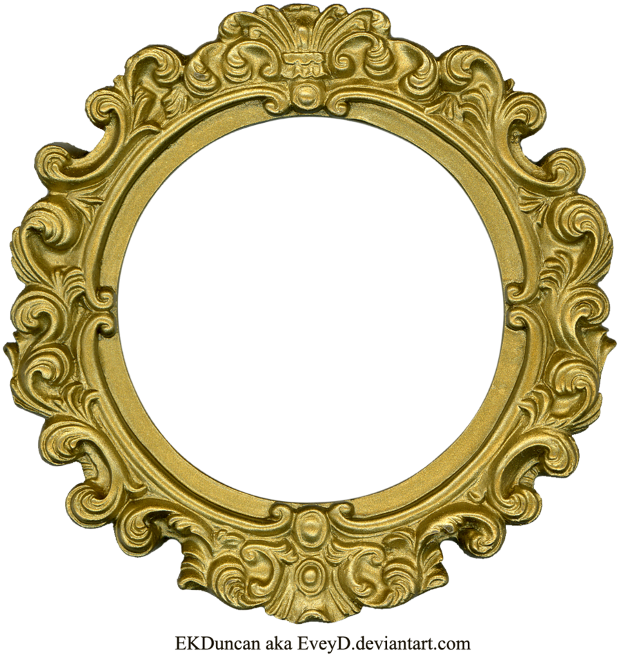 vintage gold frame round by eveyddeviantartcom on