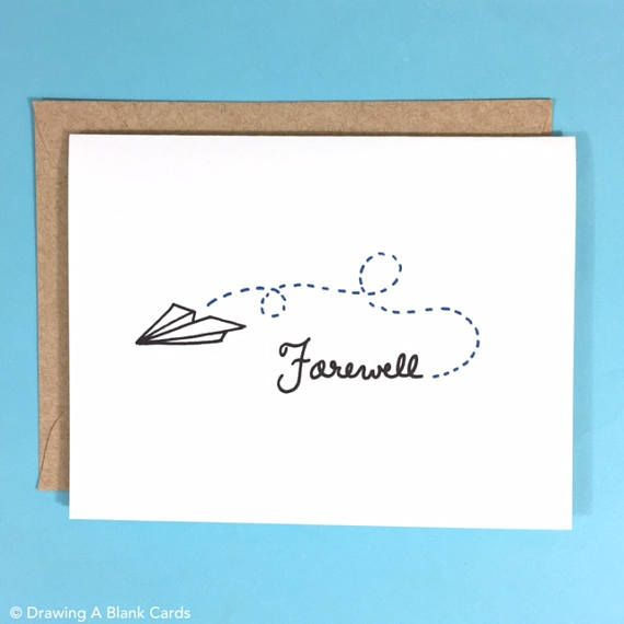 Pack of 8 Paper Airplane Farewell Cards snail mail Pinterest - farewell card template