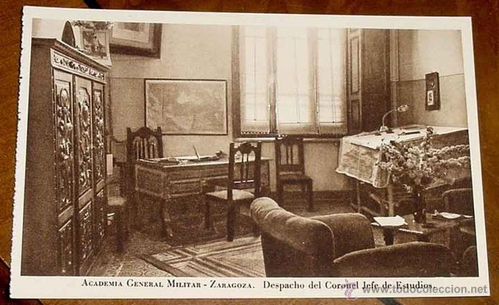 Postales: ANTIGUA POSTAL DE LA ACADEMIA GENERAL MILITAR DE ZARAGOZA. DESPACHO DEL CORONEL JEFE DE ESTUDIOS - R - Foto 1 - 38253869