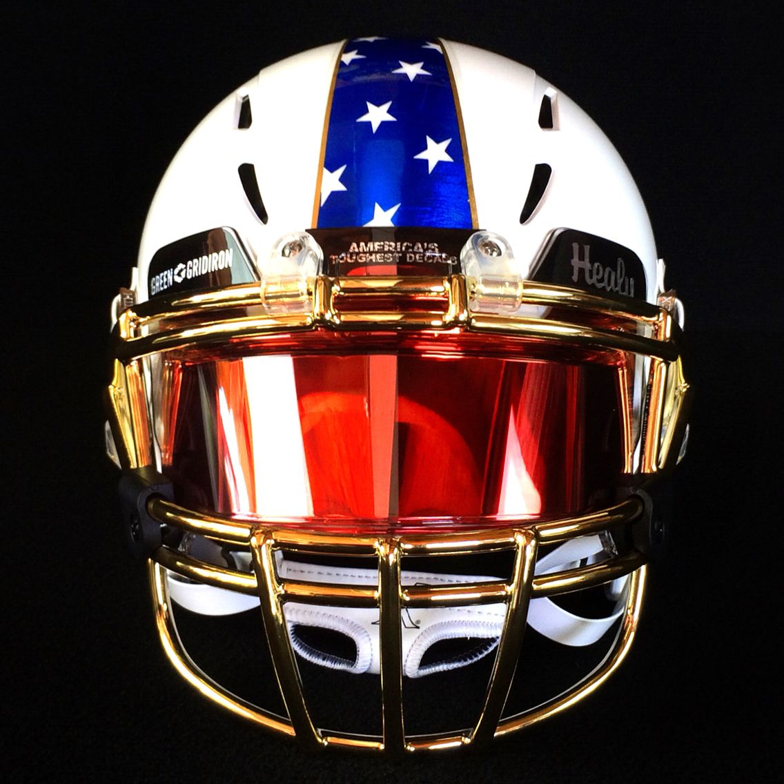 0edb935b MEMORIAL DAY helmet created by Green Gridiron, Healy Awards & SHOC. White  Xenith Epic helmet with Gold Chrome XRS-22 facemask by Green Gridiron, ...