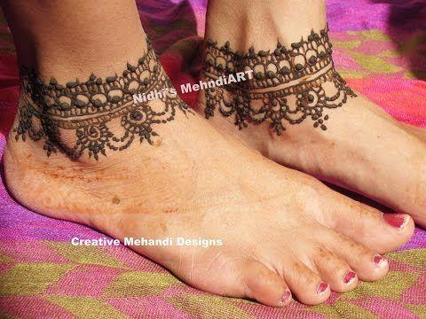 Mehndi For Foot : Youtube simple #anklet #feet #ornament #henna #mehndi #design