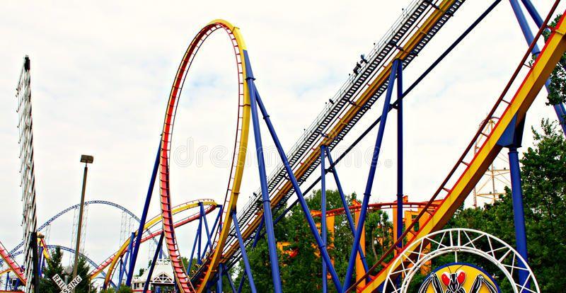 Roller coasters. In Cedar point, Sandusky, Ohio , Aff,