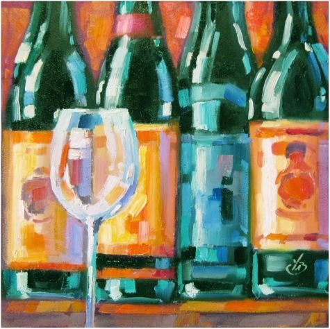 Wine bottles colorful contemporary still life painting by for What kind of paint to use for wine bottles