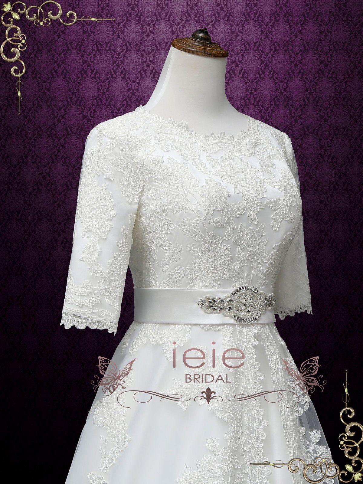 Modest A line Lace Wedding Dress with Sleeves LORINA   Lace ...