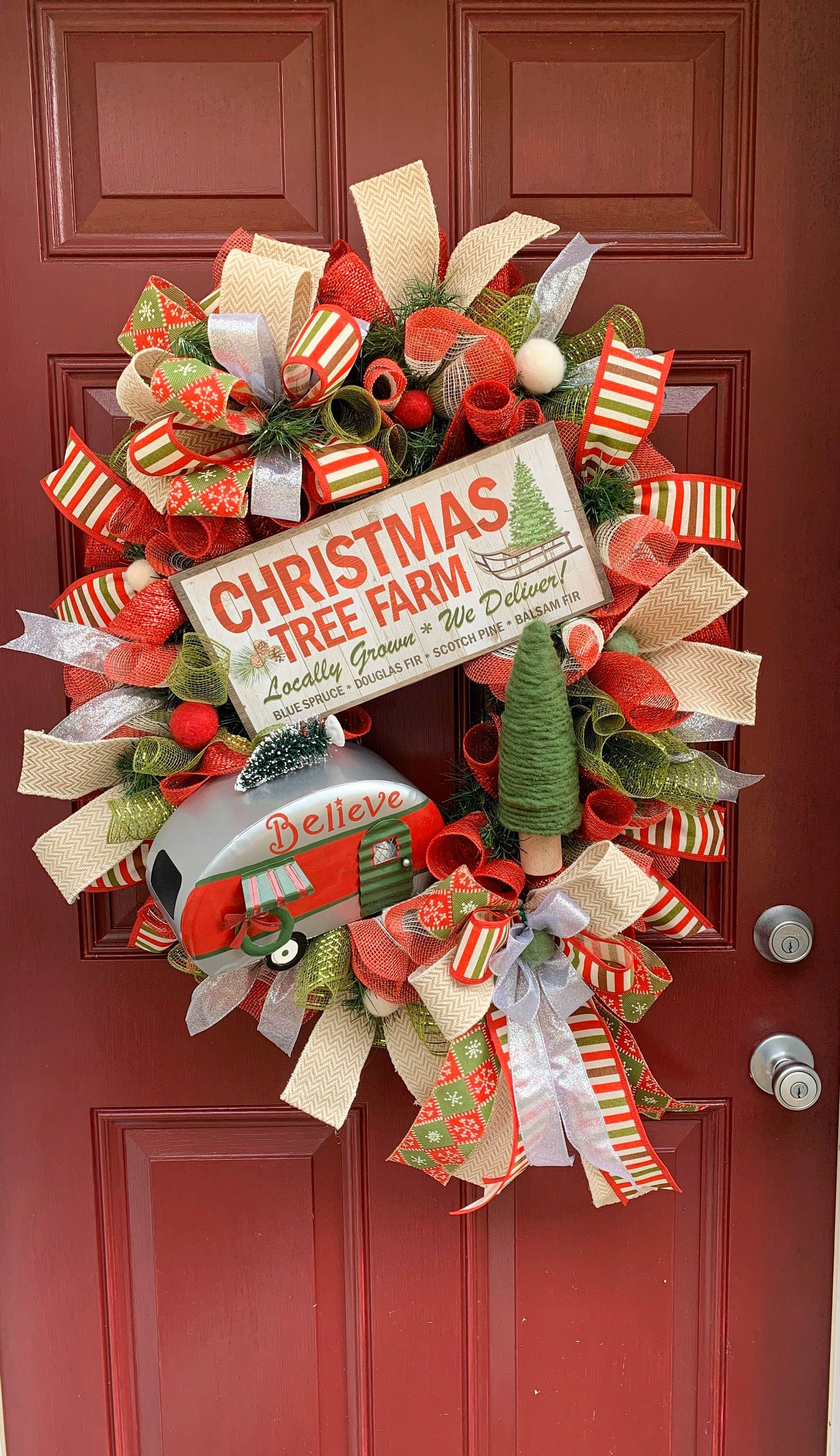 Photo of Camper Christmas Wreath for Front Door, Vintage Decor, Holiday Decoration, Retro Camper Decor, Camper Door Hanger, Front Porch Decor