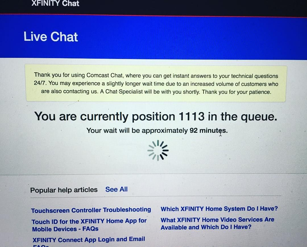 wow -- 1130 in the queue -- @comcast customer service -- a speedy