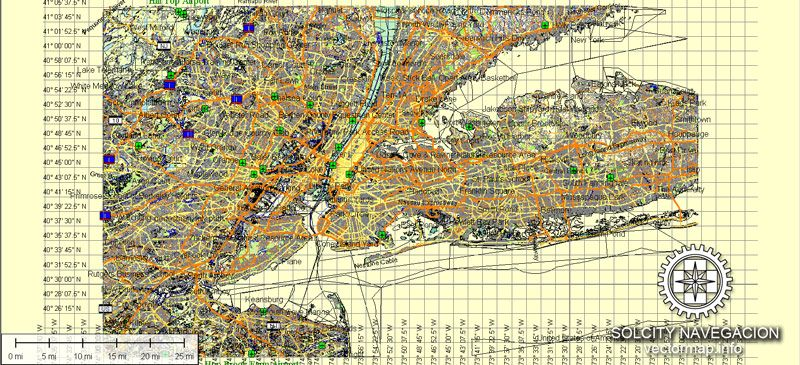Vector map of new york ny usa fully editable and printable vector map of new york ny usa fully editable and printable vector street map for adobe illustrator corel draw autocad royalty free license gumiabroncs Images