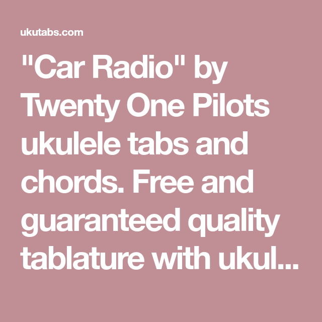 Car Radio Ukulele Chords Wordcars
