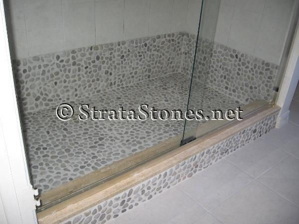 White Pebble Tile Shower Pan
