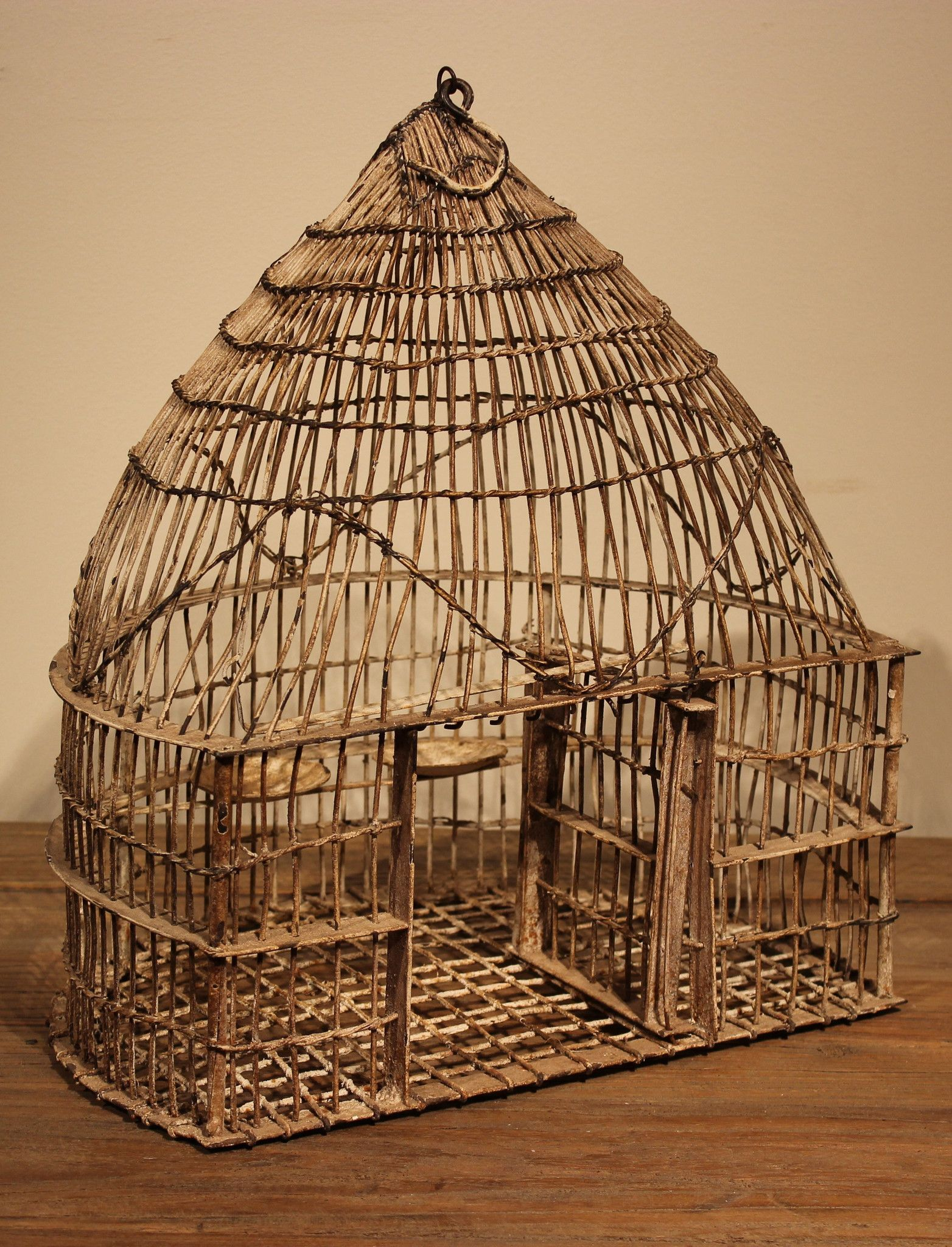 60 - 80 year old bird cage from India - Wire frame with distressed ...